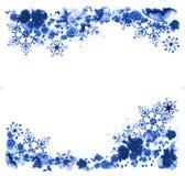 Grußkarten mit Tintenschneeflocken und eisigem Muster Handgemalte Illustration Stockfoto