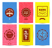 Grußkarten- oder -einladungsdesign des Vektors dekoratives Set Muster Stockfotografie