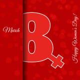 Grußkarten-Schablone internationaler Frauen ` s des Rotes am 8. März Tag VE lizenzfreie stockfotografie