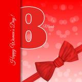 Grußkarten-Schablone internationales Frauen ` s Tagesbac des Rotes am 8. März lizenzfreies stockbild