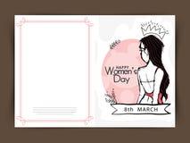 Grußkartendesign für Feier der Frauen Tages Lizenzfreie Stockfotos
