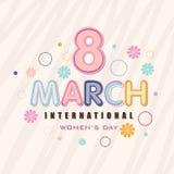 Grußkartendesign für Feier der internationalen Frauen Tages Stockbilder