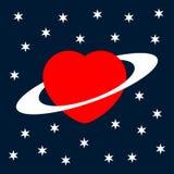 Grußkartenherz des Valentinsgrußes als Planet Lizenzfreie Stockfotografie
