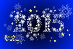 Grußkartenschablone 2015 des guten Rutsch ins Neue Jahr, Schneeflockenmusterhintergrund - Illustration eps10 Lizenzfreie Stockfotografie