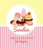 Grußkartenschablone mit Bonbons und Süßigkeit Stockbild