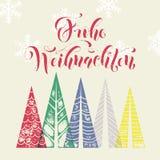Grußkartentext Winterurlaubs Frohe Weihnachten deutscher Lizenzfreies Stockfoto