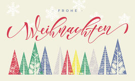 Grußkartentext Winterurlaubs Frohe Weihnachten deutscher Stockbilder