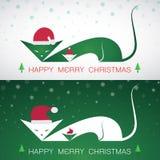 Grußkatzenkarte der frohen Weihnachten des Vektors Lizenzfreies Stockbild
