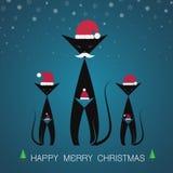 Grußkatzenkarte der frohen Weihnachten des Vektors Lizenzfreie Stockfotografie