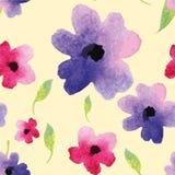 Grußmuster-Aquarellblumen Lizenzfreie Stockfotografie