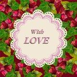 Grußmuster mit Erdbeere Wunschliebe Stockbilder