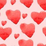 Grußmusteraquarell Herz-Muster Stockfoto