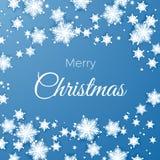 Grußpostkarte der frohen Weihnachten und des guten Rutsch ins Neue Jahr Papierschneeflockenmusterhintergrund Origami-Schneefälle  vektor abbildung