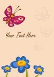 Schmetterlingsblumenglückwunsch Stockfoto