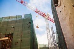 Gru al sito di ricostruzione Fotografie Stock
