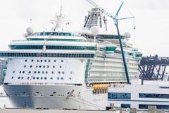 Gru blu alla nave da crociera Fotografie Stock Libere da Diritti