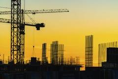 Gru che lavorano alla costruzione dell'insediamento nella precedente i fotografia stock libera da diritti