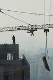 Gru, costruzione degli edifici del highrise Fotografia Stock