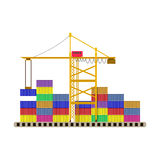 Gru del contenitore del porto di Argo e contenitori variopinti royalty illustrazione gratis