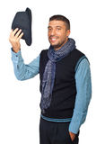 Gruß des modernen Mannes mit Hut weg Stockbilder