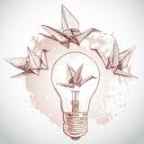 Gru di carta di origami e schizzo leggero linea su fondo beige Struttura di Grunge Vettore illustrazione di stock