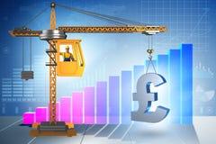 Gru di costruzione che di sollevamento libbra britannica nell'affare co di valuta Fotografie Stock