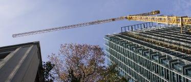 Gru di costruzione con le costruzioni Fotografia Stock