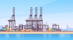 Gru industriale della nave porta-container di logistica del carico del porto marittimo illustrazione di stock