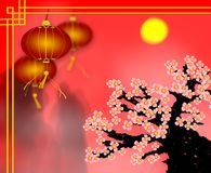 Gru?karte des Chinesischen Neujahrsfests der roten Papierlaterne mit Pflaumenquerstation stockfoto
