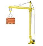 Gru a torre con i mattoni rossi impilati sopra il pallet di legno Immagine Stock Libera da Diritti