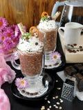 Gruau d'avoine avec du chocolat et la crème fouettée Photographie stock libre de droits