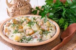 Gruau de millet avec le lard Cuisine russe photos libres de droits