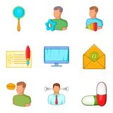 Grub icons set, cartoon style Royalty Free Stock Photo