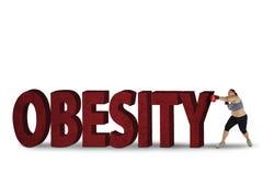 Gruba kobieta uderza pięścią otyłości słowo Obraz Stock