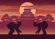 Gruba mężczyzna bitwa Japonia dzwonił Sumo ilustracja wektor