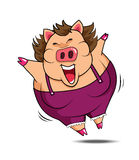 Grubej kobiety świniowaty szczęśliwy wektor Zdjęcie Stock