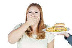 Grubej kobiety zamknięty usta dla szybkiego żarcia Obrazy Stock