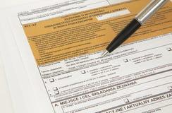 GRUBEN-Erklärung - polnisches Steuerdokument Lizenzfreies Stockfoto