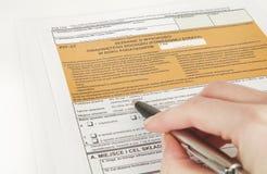 GRUBEN-Erklärung - polnisches Steuerdokument Stockbilder