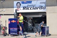 Gruben-Garage Daniel-Ricciardos in Montreal F1 lizenzfreies stockbild