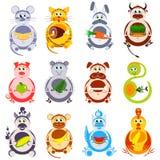 Grubi śmieszni zwierzęta ustawiający Dekoracyjni bohaterzy Chiński horoskop Zdjęcie Stock