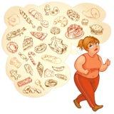 Grubi kobieta sen kalorii foods, iść dla jog royalty ilustracja