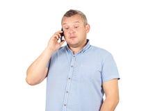 Gruby biznesmen opowiada na telefonie Obraz Stock