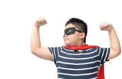 Gruby dzieci bawią się bohater odizolowywający na bielu obraz stock