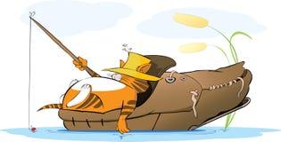 Gruby kota rybak w starym bucie ilustracja wektor