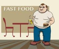Gruby mężczyzna z hamburgerem i napojem Obraz Stock