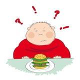 Gruby mężczyzna z hamburgerem, próbuje decydować czy jeść je lub nie Zdjęcie Royalty Free