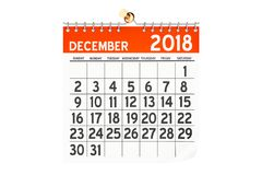Grudnia 2018 kalendarz, 3D rendering Fotografia Royalty Free