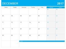 2017 Grudnia kalendarz & x28; lub biurka planner& x29; z notatkami Obrazy Royalty Free
