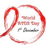 1 Grudnia Wektorowa ilustracja dla światu POMAGA dzień Akwarela symbol - czerwony atłasowy faborek Ręka rysujący faborek Grunge s Fotografia Royalty Free